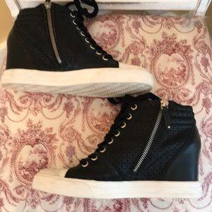 DKNY Cindy Laser Wedge Black Sneakers